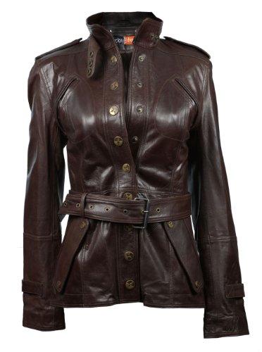 Waxed Military Jacket - FE Utili Dark Brown Leather Jacket Women | Stylish Military Leather Coat Blazer | Genuine Goat skin