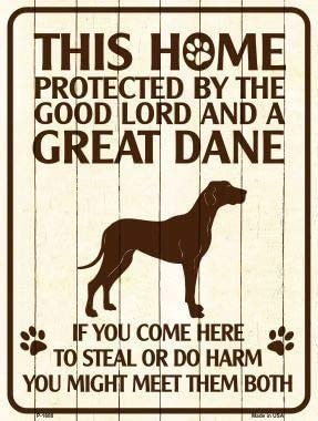 This Home Protected by A Great Dane Parking Sign Metal Novelty with Sticky Notes