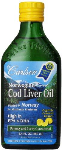Norwegian Cod Liver Oil Lemon Flavor Carlson Laboratories 8.4 oz Liquid