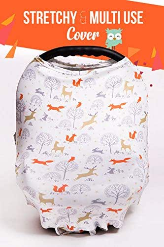 Woodland Nursing Cover for Breastfeeding Scarf - Infant Car Seat Canopy - Stretchy & Multi Use Shopping Cart, Stroller, Carseat Covers for Girls and Boys - Best Baby Shower Gift for Mom Fox Pattern