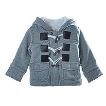 Baby Warm Fleece Hooded Coat Horn Button Outerwear Boy Snowsuit Toddler Jacket