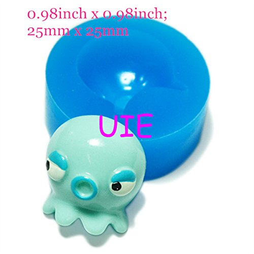 080LBD Octopus Silicone Flexible Push Mold Decoration Mold Polymer Clay Charms Dollhouse Decoden (Clay Fimo Paste Fondant)
