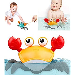 Dpower Bath Toys 2 in 1 Pull Toys & Bath Toys for Toddler 1-3 Years, Amphibious Cute Crab Clockwork Bathtub Toys for Kids, Babies Push and Pull Toy, Walking Toys
