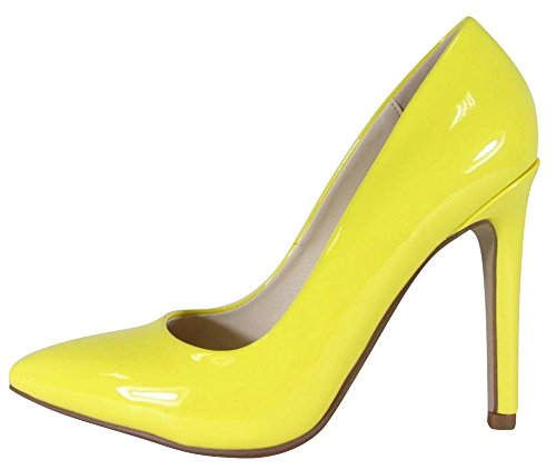 Cambridge Select Women's Classic Closed Pointed Toe Slip-On Stiletto High Heel Pump,11 B(M) US,Yellow Patent