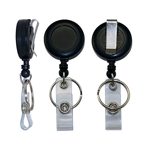 3 X Retractable Pull Chain Badge ID Holder Reel Recoil Key Ring Clip Black