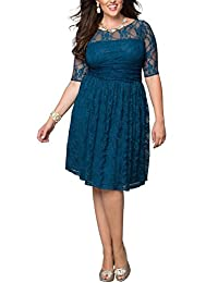 Dilanni Women Plus size Lace Dresses Elegant Formal Cocktail Evening Dresses
