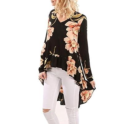 iDWZA Women Long Sleeve Shirt Casual Blouse Ruffles Irregular V-Neck Floral Print Tops