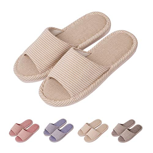 GaraTia Open Toe Slippers Indoor Soft Striped Memory Foam Cotton Washable for Men and Women Beige 5.5 M US Women/3.5 M US Men (Best Memory Foam Slippers)