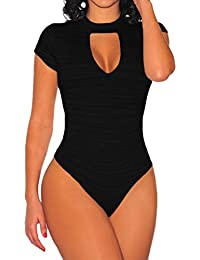Womens Sexy Strappy Deep V Neck Cut Out Camouflage Bodysuit