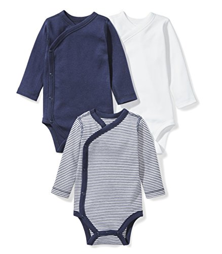 Organic Cotton Kimono Onesie - Moon and Back Baby Set of 3 Organic Long-Sleeve Side-Snap Bodysuits, Navy Sea, 3-6 Months