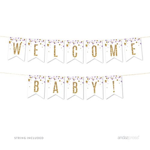 Andaz Press Lavender Gold Glitter Girl Baby Shower Party Collection, Hanging Pennant Party Banner with String, Welcome Baby!, 5-Feet, 1 Set