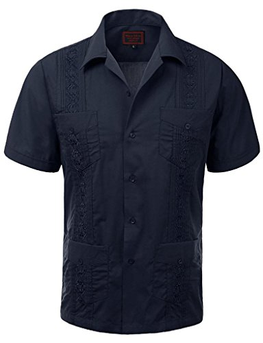 Maximos USA Guayabera Mens Cuban Beach Wedding Long Sleeve Button-up Casual Dress Shirt