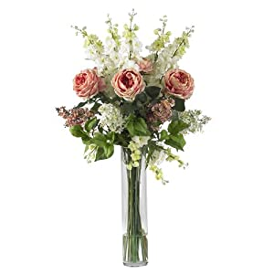 Nearly Natural 1220-PK Rose/Delphinium and Lilac Silk Flower Arrangement, Pink 59