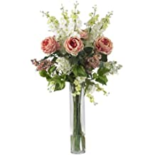 Nearly Natural 1220-PK Rose/Delphinium and Lilac Silk Flower Arrangement, Pink