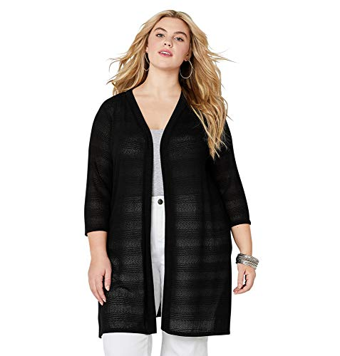 (AVENUE Women's Open Stitch Cardigan, 22/24 Black)