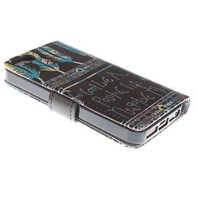 Wkae Motif mot de plumes étui en cuir PU complet du corps avec protecteur d'écran et stylet pour iPhone 5 / 5s Wkae Case Cover