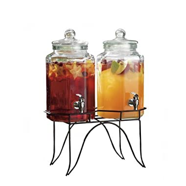 Palais Glassware Clear Glass Duplex Beverage Dispenser - 1 Gallon Each Jug, with Glass Lids and Metal Stand (Flat Glass panels)