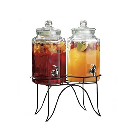 Clear Glass Duplex Beverage Dispenser - 1 Gal Ea, with Glass Lids and Metal Stand