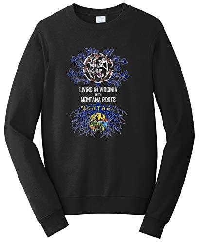 Tenacitee Unisex Living in Virginia with Montana Roots Sweatshirt, Large, Black from Tenacitee