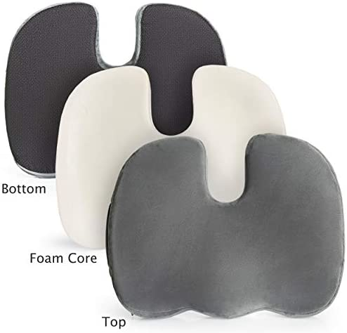 FeschDesign Memory Foam Seat Cushion Orthopedic for Office Chair, Car Seat, Wheelchair etc. Relieve Back and Tailbone Pain Extra Soft Velour Cover Non-Slip Bottom