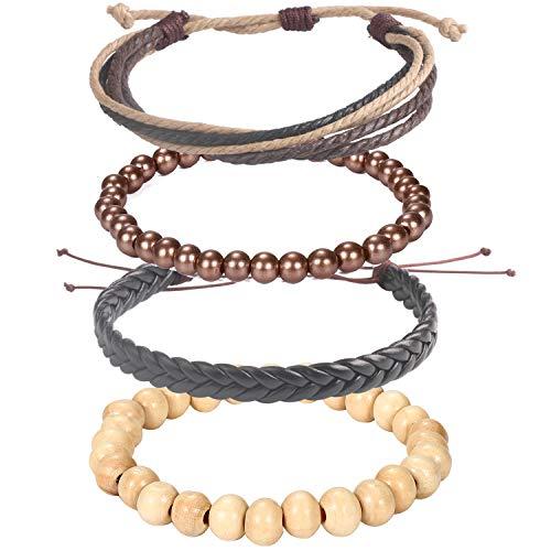 Wrap Bead Tribal Leather Woven Stretch Bracelet - 4 Pcs Boho Hemp Linen String Bracelet for Men Women -