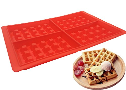 4-Cavity Silicone Waffle Mold, Belgian Waffle Chocolate Candy Soap Non-Stick Microwave Dishwasher Freezer safe - Oven Safe Heat Resistant Up To 450°F (Belgian Red Chocolates)