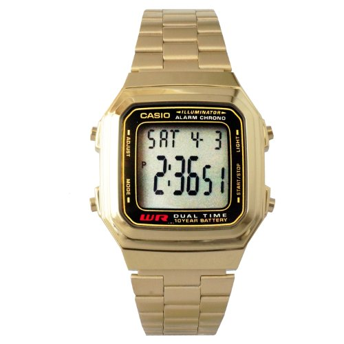Casio Mens Digital Vintage Quartz Gold Tone Band Digital Dial Casio Gold Bracelet