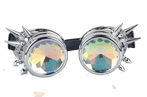Gafas de estilo vintage Steampunk con remache y las lentes de caleidoscopio para cosplay fresco, decoración etc. Color de cobre Amarillo. plata claro