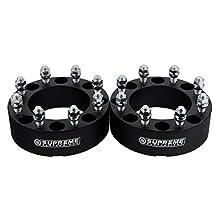 "Supreme Suspensions - (2pc) 2011-2017 Chevy Silverado 3500HD 2"" Wheel Spacers 8x180mm with M14x1.5 Studs [Black]"