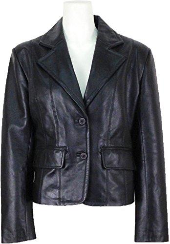 UNICORN Mujeres Genuino real cuero chaqueta Estilo clásico Blazer traje Negro #AR