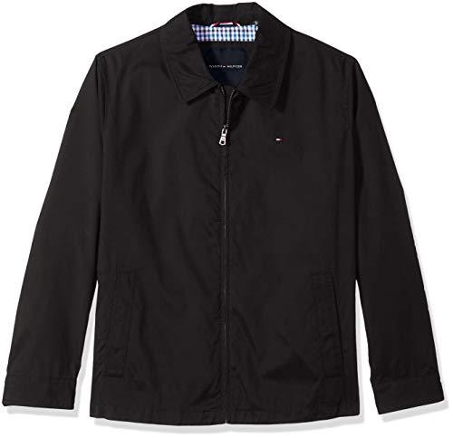Tommy Hilfiger Men's Big and Tall Lightweight Micro Twill Golf Jacket, Black, LT
