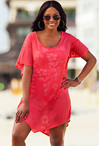 swimsuitsforall Women's Plus Size Indio Hankerchief Tunic Pink 10 / 12