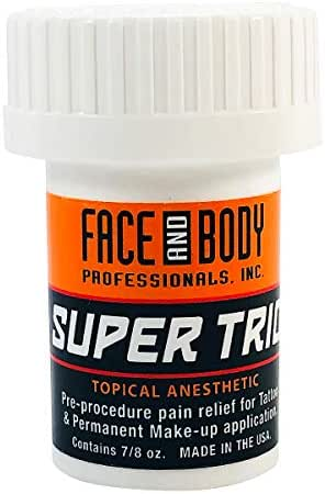 Face and Body Super Trio Topical Pre-Procedure Anesthetic Numbing Cream Tattoo Anesthetics 7/8 oz