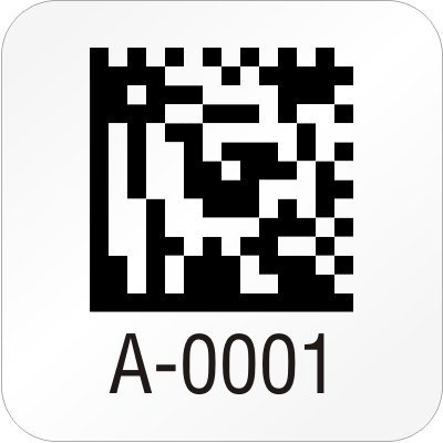 """Custom 2D Barcode Label, 0.5"""" x, EconoGuardTM Vinyl, with heavy adhesive Labels, 200 Labels / pack"""