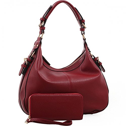 Chloe Lock and Key Concealed Carry Gun Pocket Soft Leather Purse Handbag with Matching Wallet (Red) - Chloe Red Leather Handbag