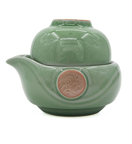Vegali Celadon Pumpkin-Style Portable Gongfu Tea Set -100% Handmade Chinese / Japanese Vintage Gongfu Teaset - Porcelain Teapot & Teacups (Vintage Tea Cups Cheap)