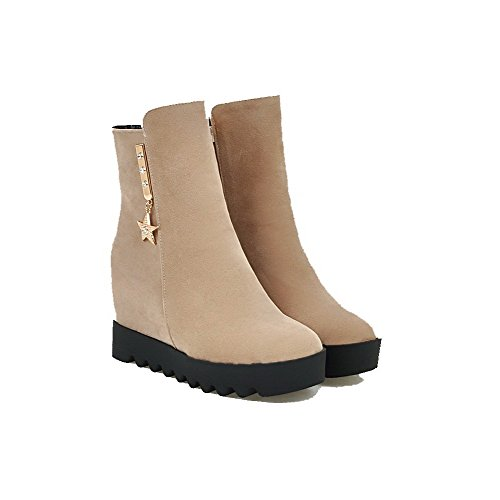 Boots Beige top Low Suede AgooLar Solid High Zipper Women's Imitated Heels wv7Iz