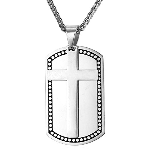 - LiFashion LF Mens 316L Stainless Steel Personalized Name Date Custom Christ Holy Cross US Military Dog Tag Pendant 2 Tone Necklace for Dad Boyfriend Husband Son Gift Silver,Free Engraving Customized