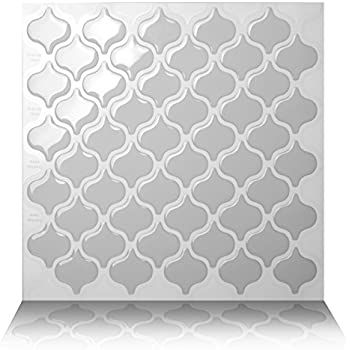 Tic Tac Tiles Anti-mold Peel and Stick Wall Tile in Damask Grigio (10)