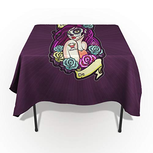 ARTSHOWING Halloween Rectangle Tablecloth Feliz Dia Skull Girl with Floral Cotton Linen Table Cover for Kitchen Dinning Tabletop Decoration 54x54inch]()
