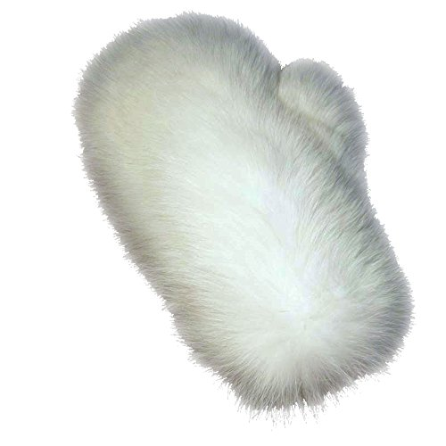 MinkgLove Fox Massage Glove, Textured and Silky Soft Feel, Pearl White Color, Hand Tailored, Unisex, One Size - Double Sided Fur