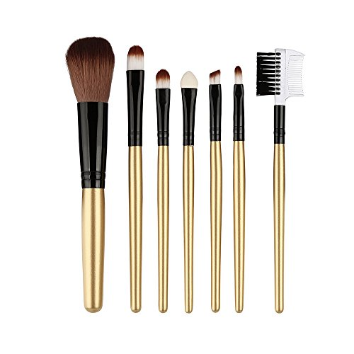 Cloudro 7pcs Makeup Brushes Set,Wooden Handle Premium Eyeshadow Brush Eyebow Brush Blush Brush Blending Brushes Set (H)