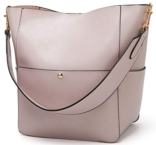 Molodo Women's Satchel Hobo Top Handle Tote Shoulder Purse Soft Leather Crossbody Designer Handbag Big Capacity Bucket Bags (Lightpurple)