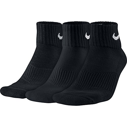 Nike Men's 1/2 Cushioned Ankle Sport Socks 3-Pack, L, Black - Mens 3 Pack Quarter Sock