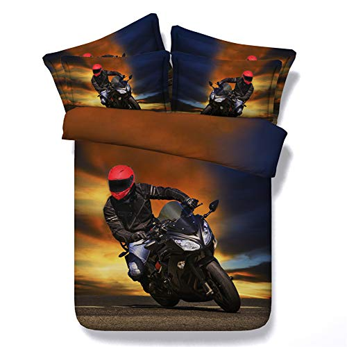 Goldeny JF-256 Cool Motorcycle Racer Printed Bed Set 6pcs Boys Bedding Sets Contains 1 Duvet Cover 1 Flat Sheet 4 Shams (Queen)