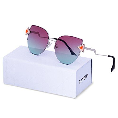 RAYSUN Women Cat Eye Mirrored Lenses Sunglasses Fashion Gradient Metal Frame UV 400 Lightweight Fashion Glasses - Non See Sunglasses Through