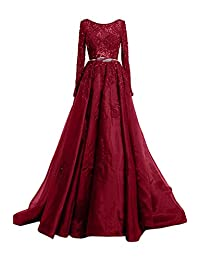 Sunvary Gorgeous Ball Gown Prom Evening Dresses Jewel Long Sleeve With Sash