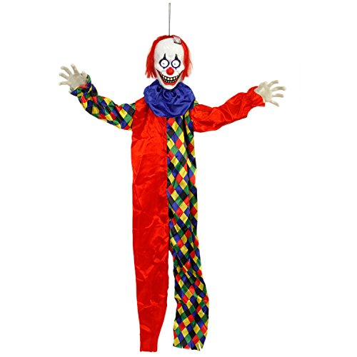 Halloween Haunters 5 Foot Animated Hanging Scary Circus Clown with Moving LED Bloodshot Eyes Prop Decoration - Smiling Zombie Ghoul Face that Chimes, Howls and Moans - Haunted House Graveyard Entryway
