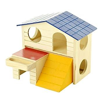 Aprettysunny Habitación de Doble Capa de Madera Animal pequeño hámster Ardilla Jugar casa de Dormir Jaula: Amazon.es: Productos para mascotas
