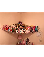 Jumbo Toy Hammock, Powkoo Extra Large Toy Hammock Storage Net Organizer | Dimensions: 84 x 59 x 59 inches for Stuffed Animals, Nursery Play, Teddies (White)